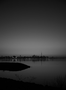 Black and white capture of the skyline